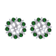 New 1.16 Ct Natural Diamond And Emerlad Earring Jackets In 14k White Gold Wedding