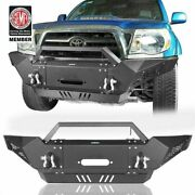 Front Bumper W/ Led Spotlights And Winch Plate For Toyota Tacoma 05-15 2nd Gen