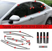 Fit For Toyota Camry 2018-2019-20 2021 S.steel Black Car Window Strip Cover Trim