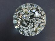 Vintage Large Glass Paperweight In Clear Crystal Glass 100and039s Air Bubbles Gift
