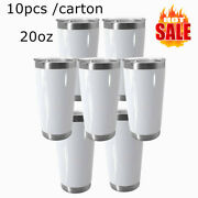 10pcs 20oz White Sublimation Stainless Steel Beer Tumbler Drinking Lid Straw