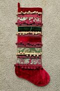 Christmas Stocking Large 33 Embroidered Embossed Material Velvet With Pompoms