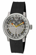 Gv2 By Gevril 4041r.p Mens Powerball Black Rubber Date Wristwatch