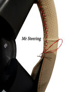 For Daf Xf 105 06-12 Beige Perforated Leather Steering Wheel Cover Red Stitching