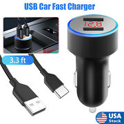 2 Ports Car Charger Type C Fast Charging Cable For Samsung Galaxy S21/s20/note20