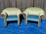 David Edwards Midcentury Living Room Chair Set Of 2 Green Blue Free Freight Ship