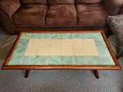 Antique Vtg 20s Mission Style Arts And Crafts Mosaic Ceramic Tile Oak Coffee Table