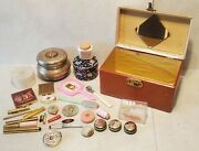 28 Vintage Vanity Makeup Powder Pill Boxes Lipstick Bullet Mirrors Compacts Lot
