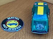 1969 Hot Wheels Original Owner Heavy Chevy Green Yellow Striped Car And Badge