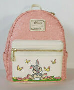 Disney Loungefly Bambi Thumper Mini Backpack Pink Sequin Bag Floral Flower Purse