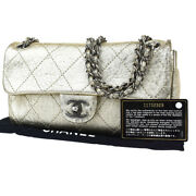 Authentic Cc Logo Quilted Chain Shoulder Bag Gold Leather France 651sb294