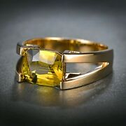 14k Yellow Gold Rare 3.3 Ct Color Shifting Chrysoberyl Solitaire Designer Ring