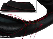For Mg Ta Midget 36-39black Real Italian Leather Steering Wheel Cover Red Stitch