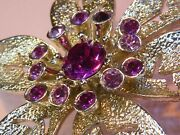 Sarah Coventry Signed Vintage 1960s Pink Crystal Brooch
