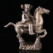 9 Collect Chinese Bronze Silvering Inlay Gem Wealth God Ride A Horse Statues