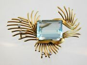 Vintage 18k Yellow Gold Blue Topaz And White Diamond Brooch 17.1 Gram Weight Pin