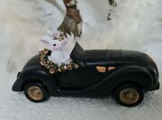 Vintage Easter Bunny Rabbit Pair In The Car 8 11/16in Shabby Deco Landhaus
