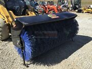 68 Angle Broom For Skid Steers And Track Loaders Ssl Quick Attach Poly Bristle