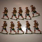 Vintage Lot Of 10 Scottish Marching Lead Toy Soldiers W/ Base Nos Gorgeous Cond