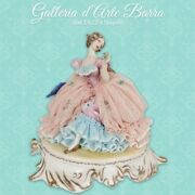 Porcelain Capodimonte, Lady In Laying, Decoration Exclusive Dress Lace Two-tone