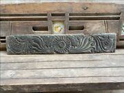 1700 Antique Wood Fine Hand Carved Figure Floral Door Wall Panel Rare