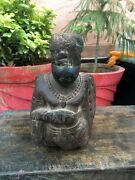 1800and039s Antique Old Wooden Hand Carved Tribal Man Statue Rare