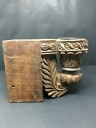 Antique Wood Hand Carved Rare Floral Door Bracket Wall Penal Candle Stand