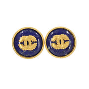 Round Type Coco Logos Earrings Navy Gold 96a Vintage Accessories 90114544