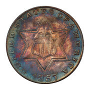 1857 3cs Three Cent Silver Pcgs Ms66 3047-2 Color