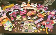 Huge Lot Lps Littlest Pet Shop Playsets Airplane Jet Cars Limo Playground Castle