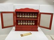 Vintage 1960andrsquos Red Wall Mount Spice Rack W/ 15 Original Spice Jars Mcm