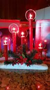 3 Vintage Electric Christmas 5 Liight C-7 Red Drip Candolier And Candle Halo