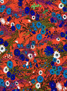 Vintage Mid Century 60s 70s Red Vibrant Floral Print Poly Cotton Fabric