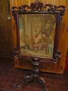 Antique Victorian Walnut Petit Point Fire Screen 44 Tall Excellent Condition