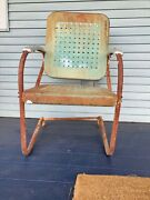 1940s Vintage Metal Rocking Patio Chair Motel Arm Chair Waffle Style Rocker Andnbsp