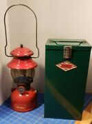 Vintage Red Coleman 200a Lantern With Carrying Case August 1954