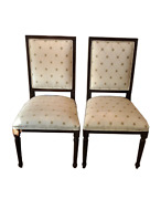 Ethan Allen Classic Dining Accent Chairs Pair Cream And Gold Dotted Upholstery