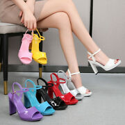 Many Candy-colored Womens Patent Leather Open Toe Platform Heel 11cm Sandals