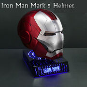 In Stock 11 Iron Man Mark 5 Helmet Voice-controlled Cosplay Collection Wearable