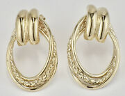 Estate 14k Yellow Gold Decorative Front Hoop Earrings Rope Accent W/posts