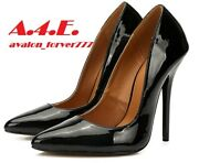 Hey Se Mey Black Patent Heel Dress Shoes. Size 46. Womens 13.5 Or Mens 12
