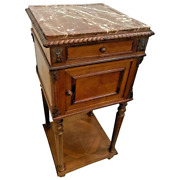 Antique Italian Humidor Table Marble Top And Interior Cabinet Bottom Shelf