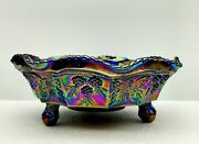 Fenton Iridescent Amythest Carnival Glass Butterfly Berry Bowl Candy Dish