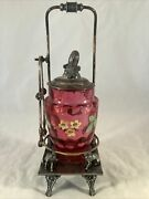 Antique Rockford Silver Plate Co. Cranberry Glass Pickle Jar Foxes See Details