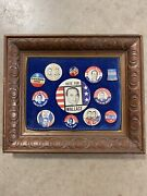 1968 George Wallace 4 President Political Campaign Framed Button Pin Collection