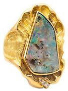 Modernist 1970 Germany Cocktail Ring In 18 Kt Gold With 15.05 Ctw Opal And Diamond