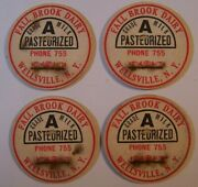 Fall Brook Dairy Wellsville Ny Lot Of 4 Vintage Milk Bottle Caps 1 5/8 Pc-2