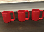 Vintage Melmac Dishes Colorful Kasen 3 Red Cups Melamine Peter Pan Usa