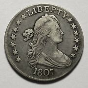 Rare - 1807 Draped Bust 50c Half Dollar. Magnificent United States Silver Coin.