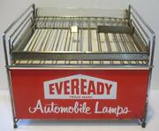 Eveready Automobile Lamps Tin Counter Top Service Station Bulb Display Rack